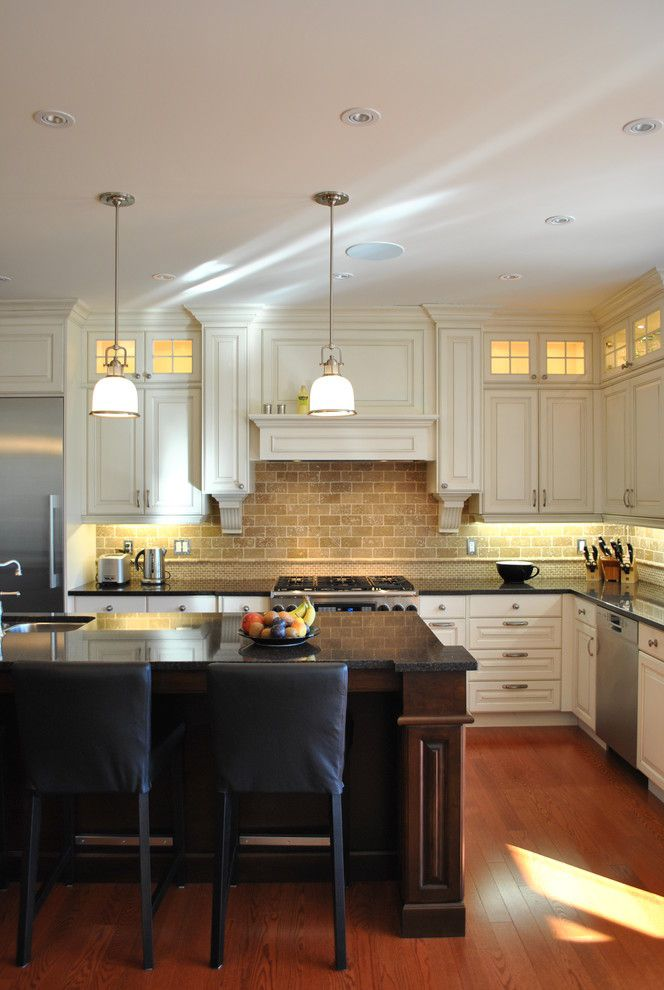 Feiss for a Traditional Kitchen with a Eat in Kitchen and Kitchen 005 by Tanner Vine   2go Custom Kitchens Inc