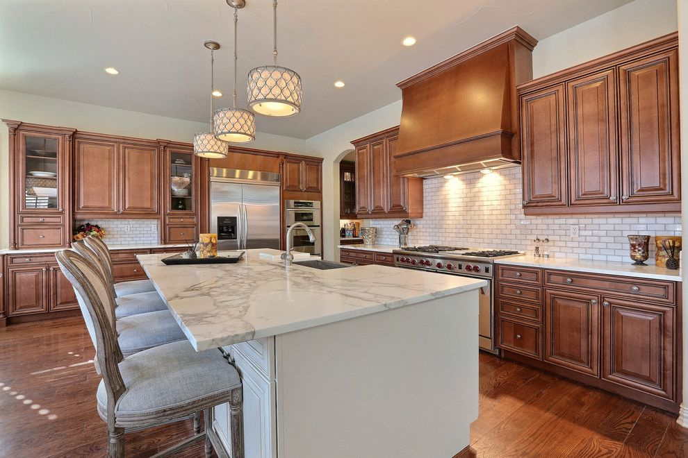 Feiss for a Traditional Kitchen with a White Countertop and Cherry Creek Country Club Project by Viridis Design Studio, Inc.
