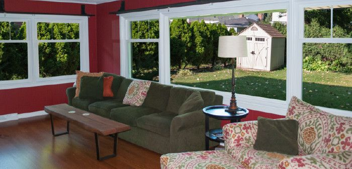 Feldco for a  Spaces with a Replacement Window and Family Room: Picture Window by Feldco Windows, Siding and Doors