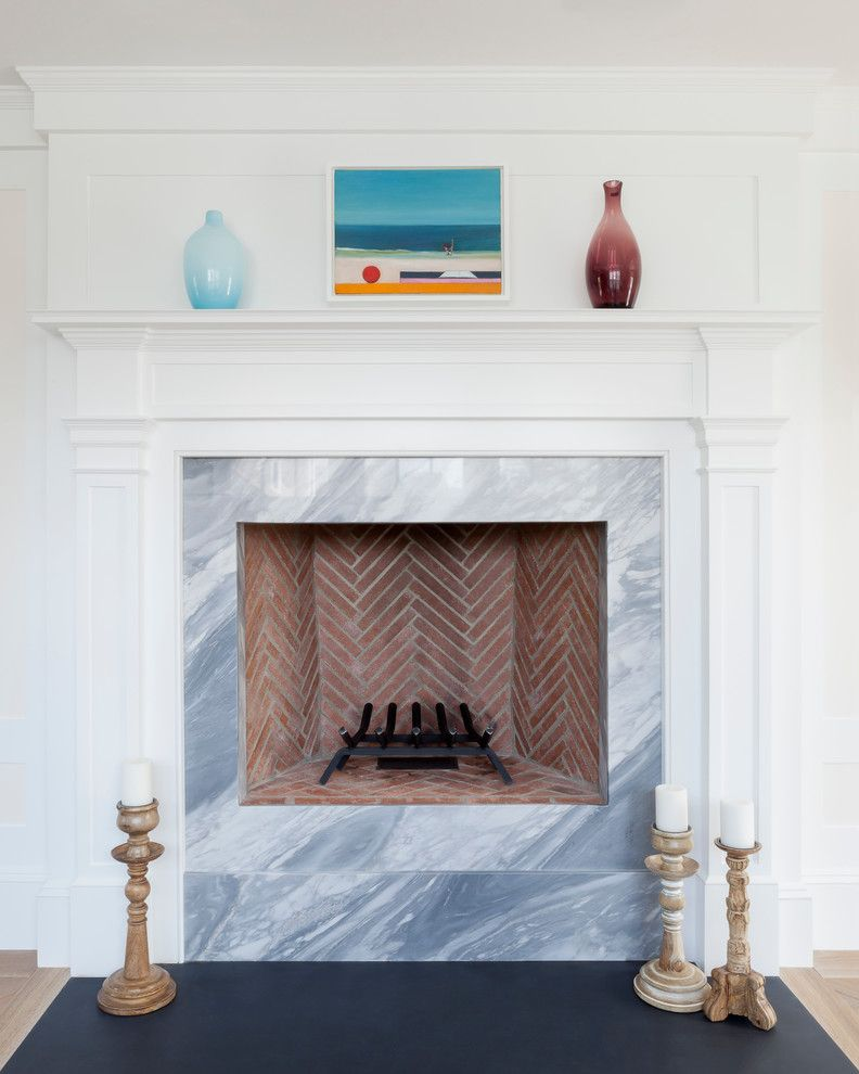 Feng Shui Basics for a Beach Style Spaces with a Hearth and Rockport Beach House by Reiko Feng Shui Design