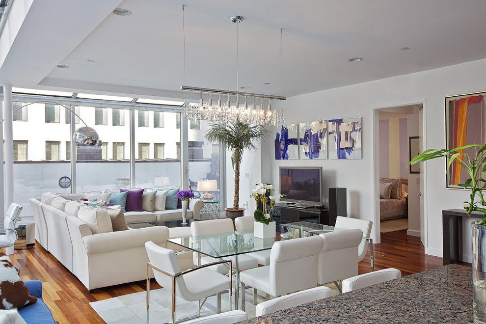 Feng Shui Basics for a Contemporary Living Room with a Corner Sofa and Tribeca Penthouse by Marie Burgos Design