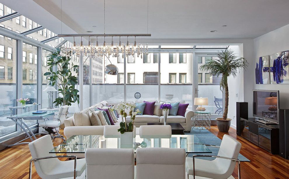 Feng Shui Basics for a Contemporary Living Room with a Glass Dining Table and Tribeca Penthouse by Marie Burgos Design