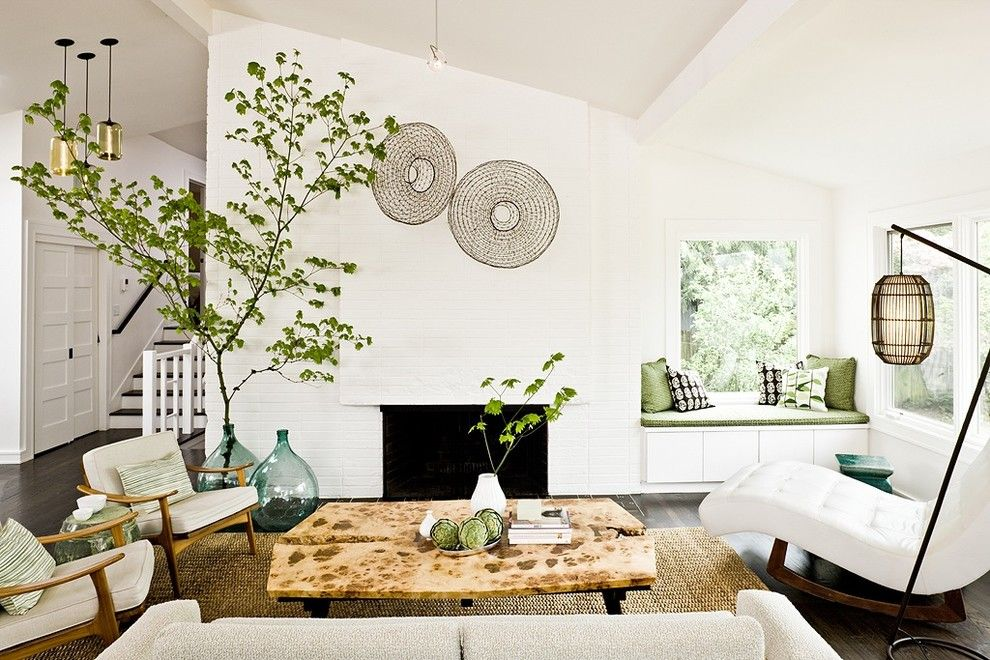 Feng Shui Basics for a Midcentury Living Room with a Floor Lamp and Portland Modern Mix by the Works
