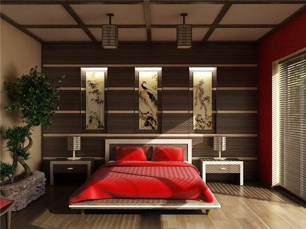 Feng Shui Bed Placement for a Asian Bedroom with a Red Bedding and Japanese Style Bedroom by Strelka