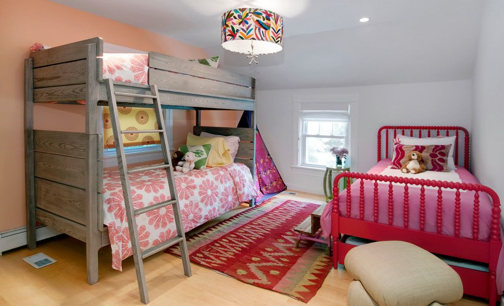 feng shui bed placement for a beach style kids with a red bed frame and southampton