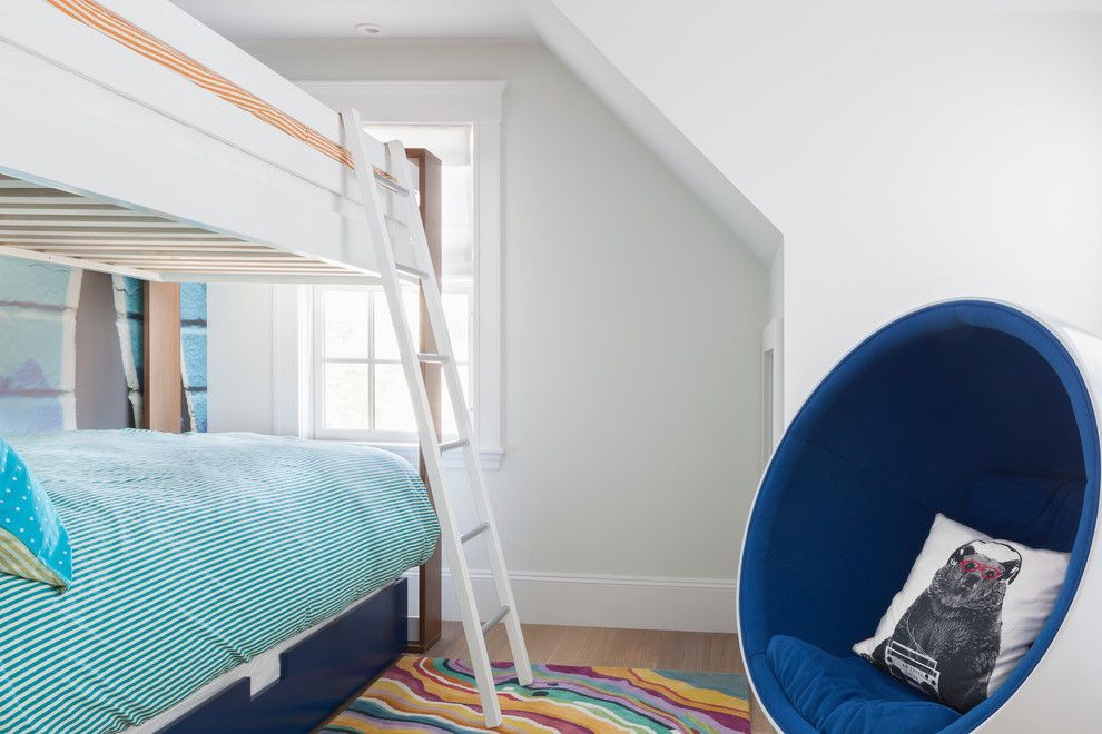 Feng Shui Bed Placement for a Beach Style Kids with a White Framed Window and Rockport Beach House by Reiko Feng Shui Design