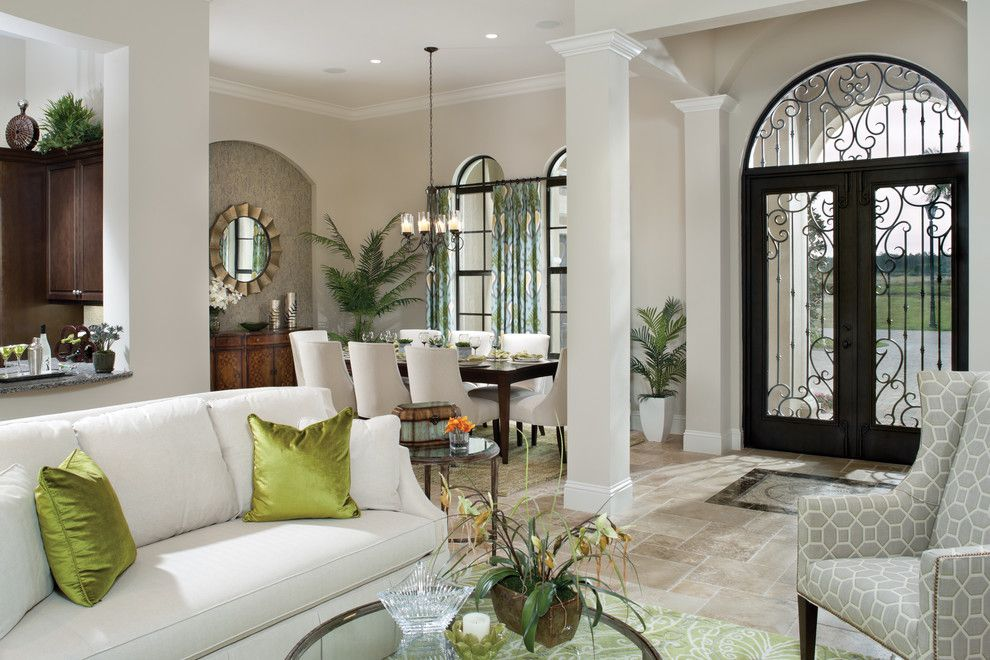 Fenton Home Furnishings for a Mediterranean Entry with a White Sofa and Valencia 1180 by Arthur Rutenberg Homes
