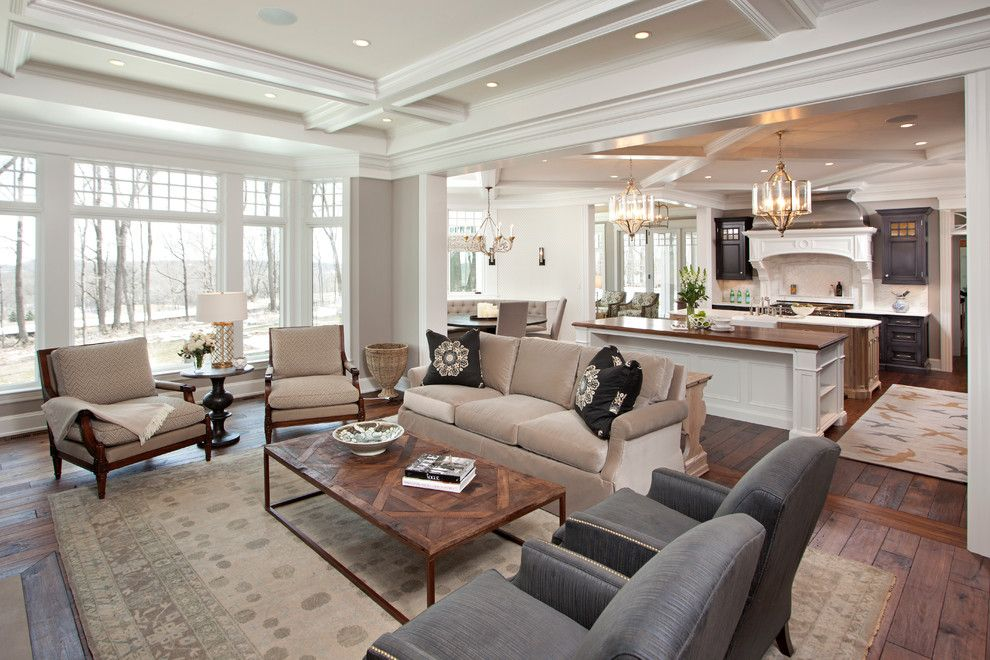 Fenton Home Furnishings for a Traditional Living Room with a Kitchen Island and Hampton's in the Country by Eskuche Design