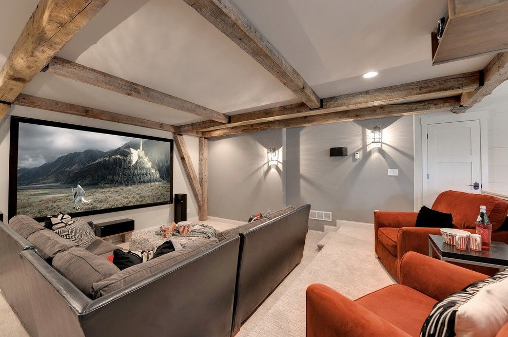 Fenton Home Furnishings for a Transitional Home Theater with a Light Gray Walls and Home Theater by Divine Custom Homes