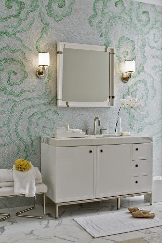 Ferguson Plumbing Locations for a Contemporary Bathroom with a Frame and Panel Cabinet and Laura Kirar Vanity by Kallista Plumbing