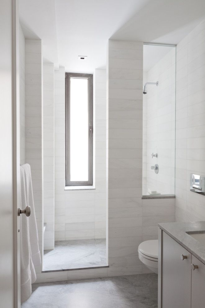 Ferguson Plumbing Locations for a Contemporary Bathroom with a White and Uptown West by Wettling Architects