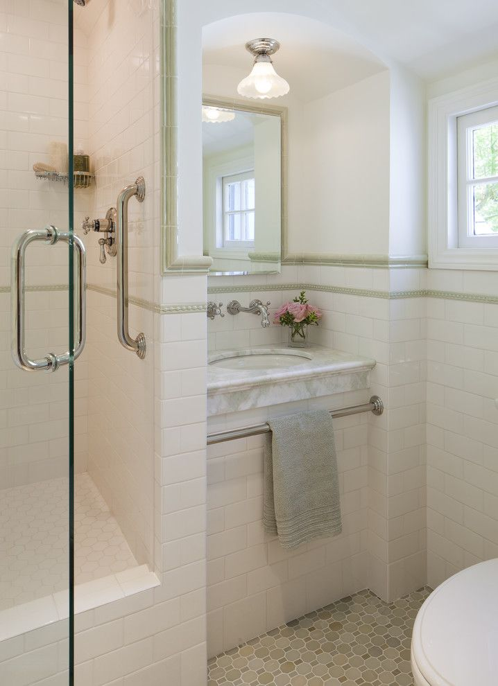 Ferguson Plumbing Locations for a Traditional Bathroom with a Tile Stripe and California Tudor Style Residential Remodel by Custom Kitchens by John Wilkins Inc