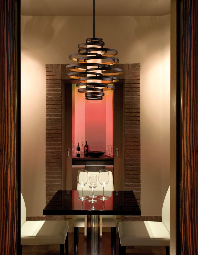 Ferguson Plumbing Supply for a Contemporary Wine Cellar with a Tasting Table and Lighting Solutions by Blackman Plumbing Supply
