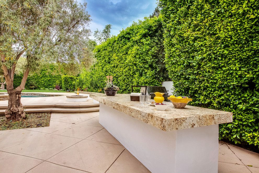 Ficus Nitida for a Mediterranean Patio with a Grill Counter and Spanish Colonial Revival Makeover   New Barbecue & Serving Counter by Garden of Eva Landscape Design Group