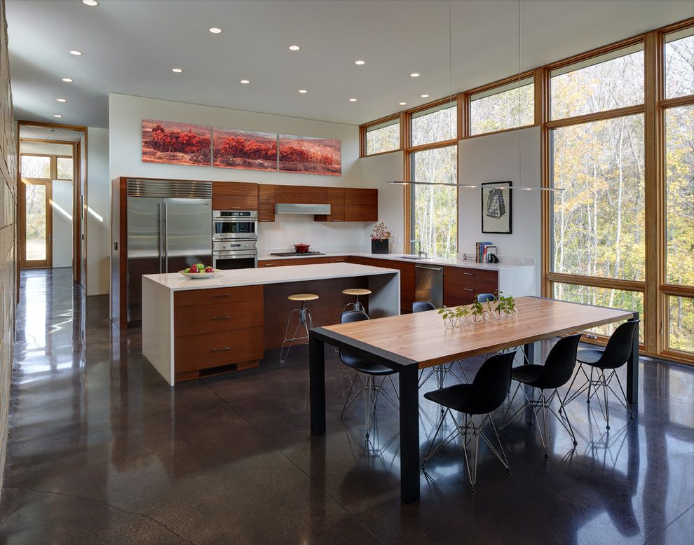Fieldstone Cabinets for a Contemporary Kitchen with a Stone and Fieldstone House by Bruns Architecture