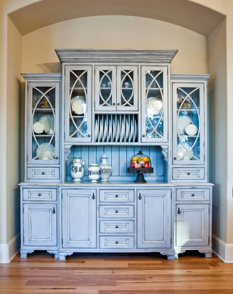 Fieldstone Cabinets for a Traditional Kitchen with a Glass Panel Doors and Custom China Hutch by Hostetler Custom Cabinetry