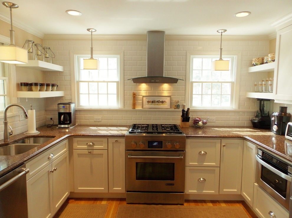 Fieldstone Cabinets for a Transitional Kitchen with a Beveled Subway Tiles and Cape Cod Kitchen by White Wood Kitchens