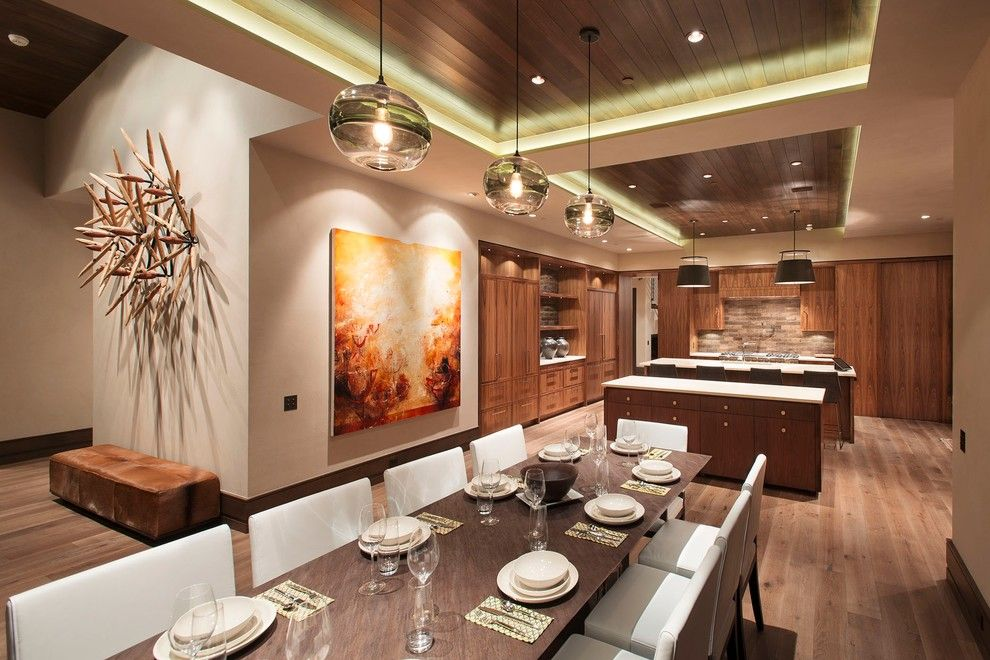 Fine Homebuilding for a Contemporary Kitchen with a Cow Hide Bench and Buttermilk by Kaegebein Fine Homebuilding