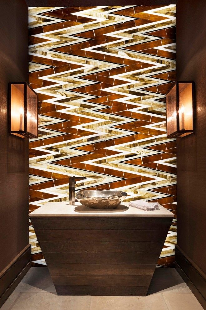 Fine Homebuilding for a Contemporary Powder Room with a Wall Sconce and Buttermilk by Kaegebein Fine Homebuilding