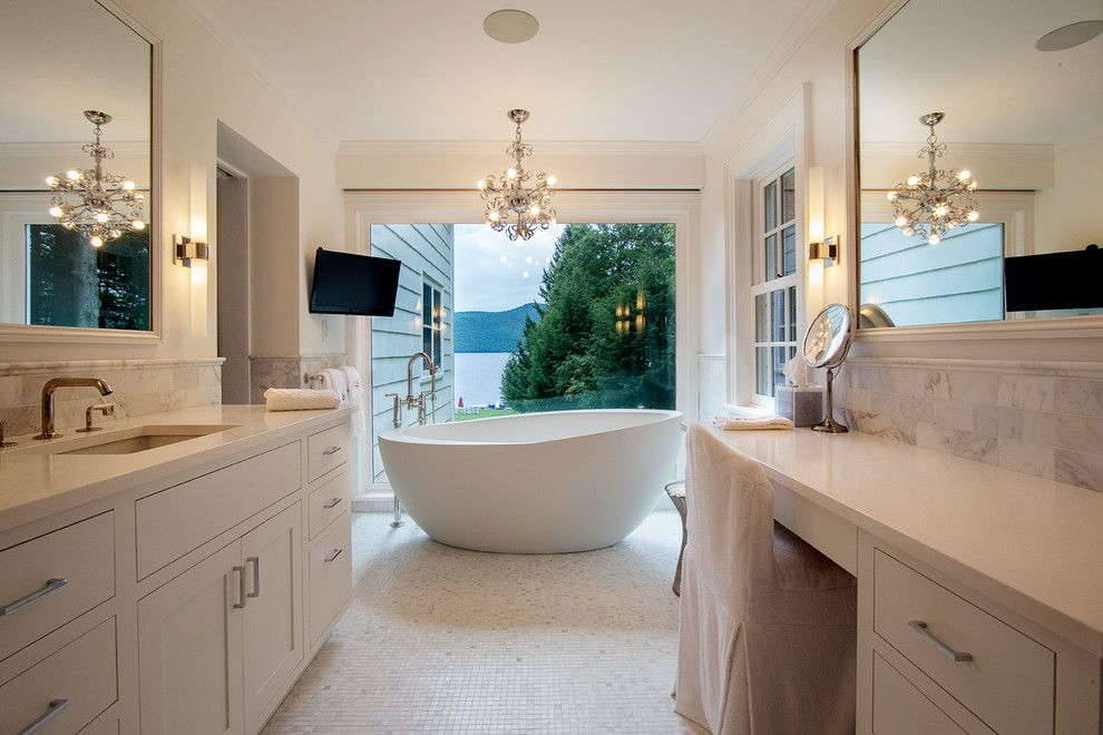 Fine Homebuilding for a Transitional Bathroom with a Lake View and Master Bathroom by Phinney Design Group