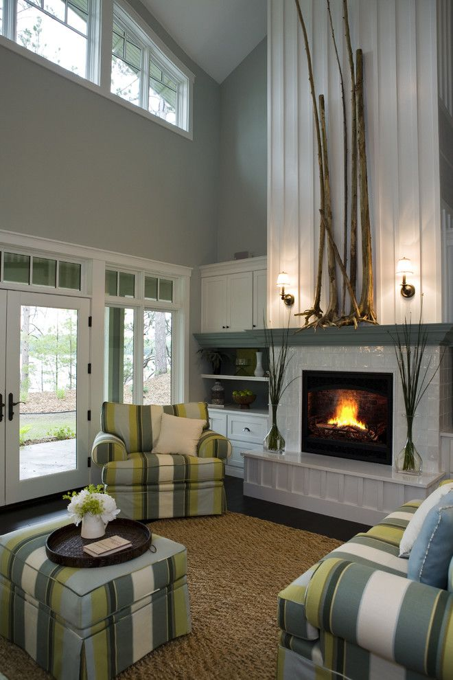 Fireplace Mantel Decor for a Contemporary Living Room with a Built in Furniture and 21st Century Bungalow by Shane D. Inman