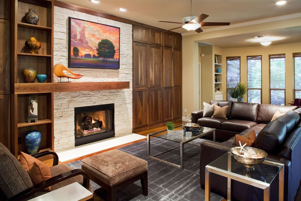 Fireplace Mantel Decor for a Contemporary Living Room with a Ceiling Lighting and Living Room by Laura Burton Interiors
