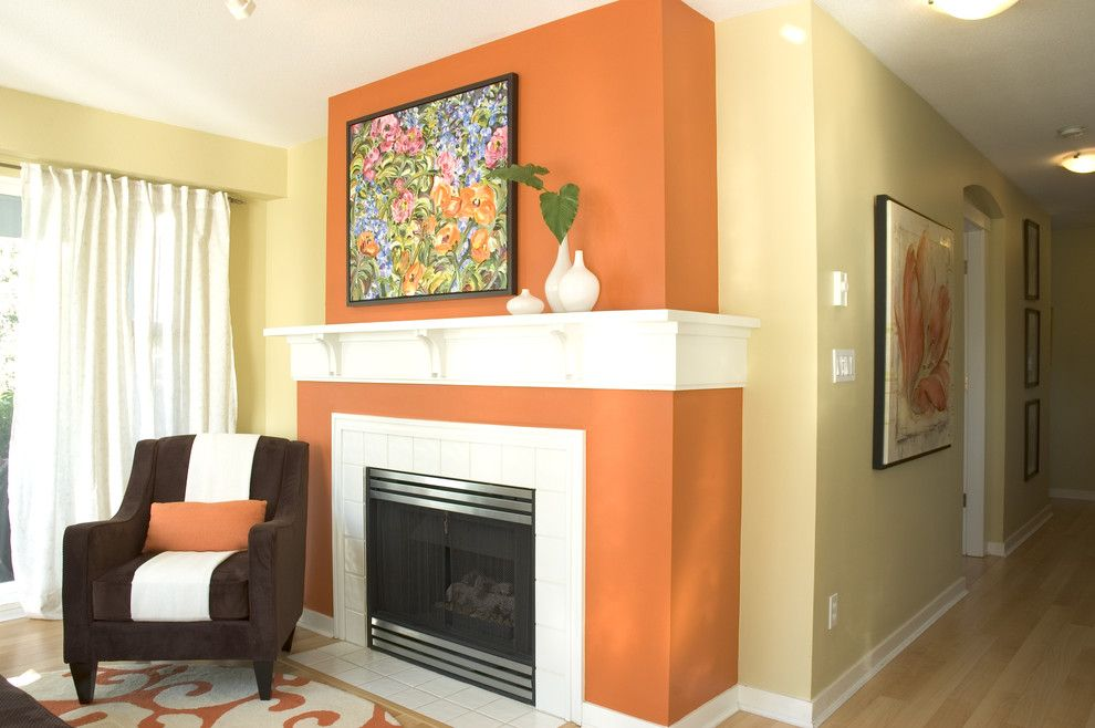 Fireplace Mantel Decor for a Contemporary Living Room with a Drapes and Vancouver Residence by Maria Killam