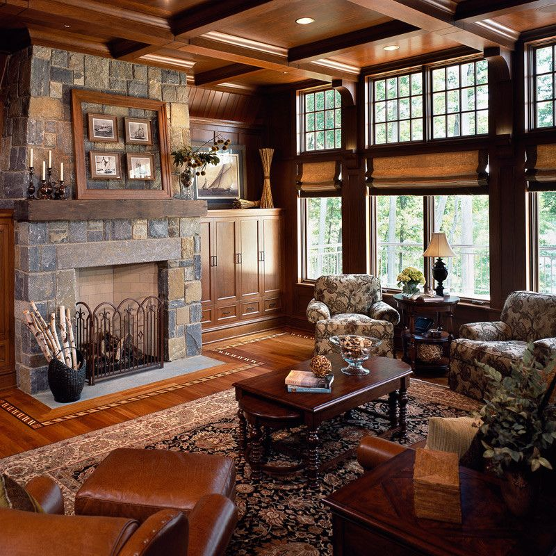 Fireplace Mantel Decor for a Rustic Living Room with a Fireplace Mantels and Family Room by Belmonte Builders