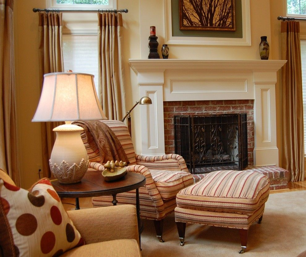 Fireplace Mantel Decor for a Traditional Family Room with a Brick and an Expanse of Space by Meredith Ericksen