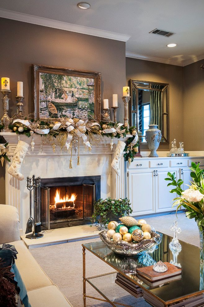 Fireplace Mantel Decor for a Traditional Living Room with a Mantel Decor and Christmas Decorating by Saj Designs, Llc