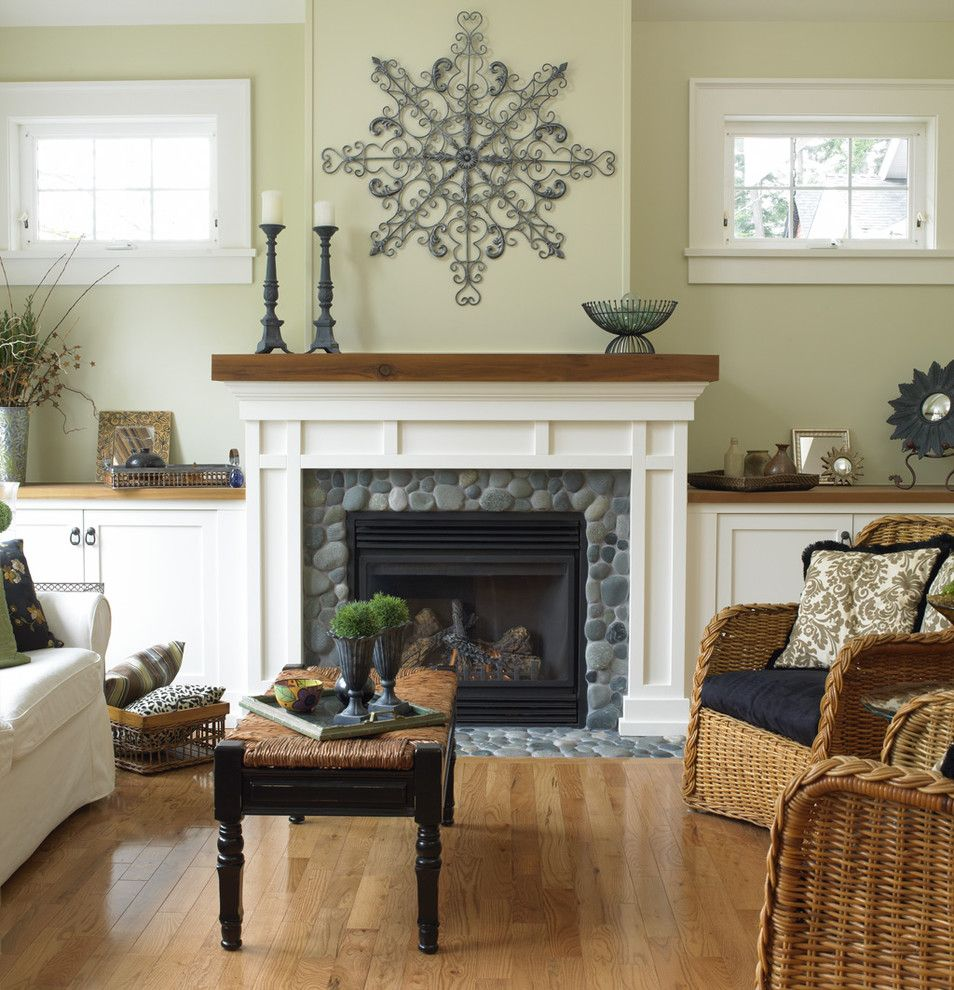 Fireplace Mantel Decor for a Traditional Living Room with a Stone and Cape Cod  Victoria by Christopher Developments
