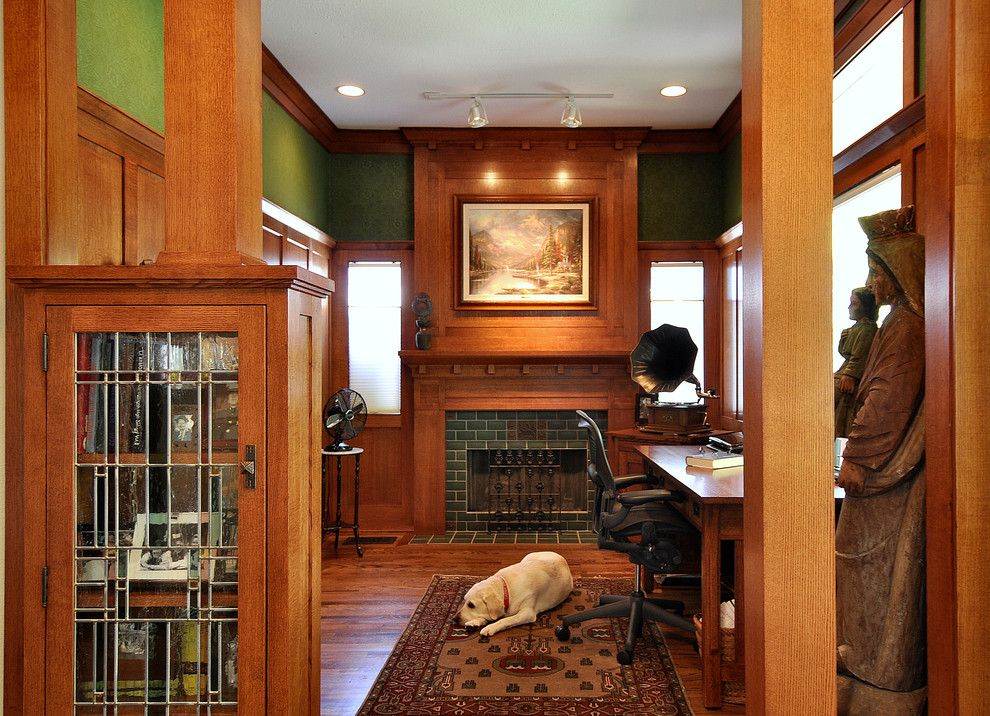 Fireplace Mantel Decorating Ideas for a Craftsman Home Office with a Wood Paneling and Craftsman Inspired Kitchen by Brooke B. Sammons
