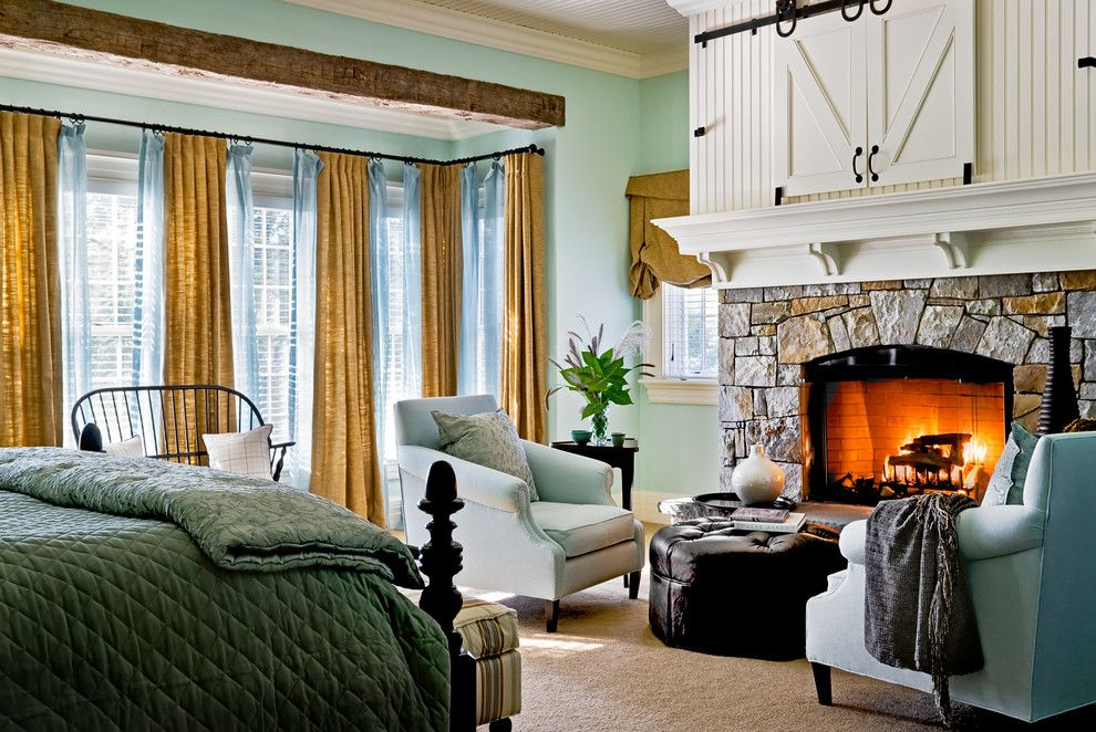 Fireplace Mantel Decorating Ideas for a Traditional Bedroom with a Window Treatments and Crisp Architects by Crisp Architects