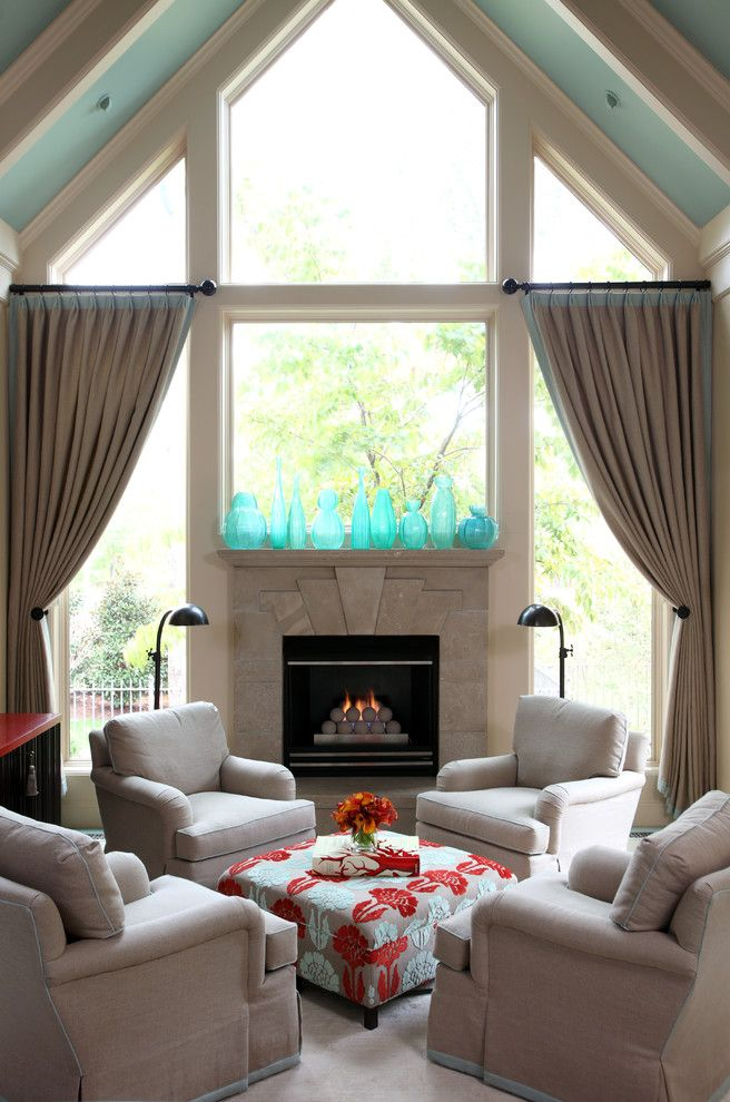 Fireplace Mantel Decorating Ideas for a Traditional Living Room with a Aqua Ceiling and Leawood Residence by Tobi Fairley Interior Design