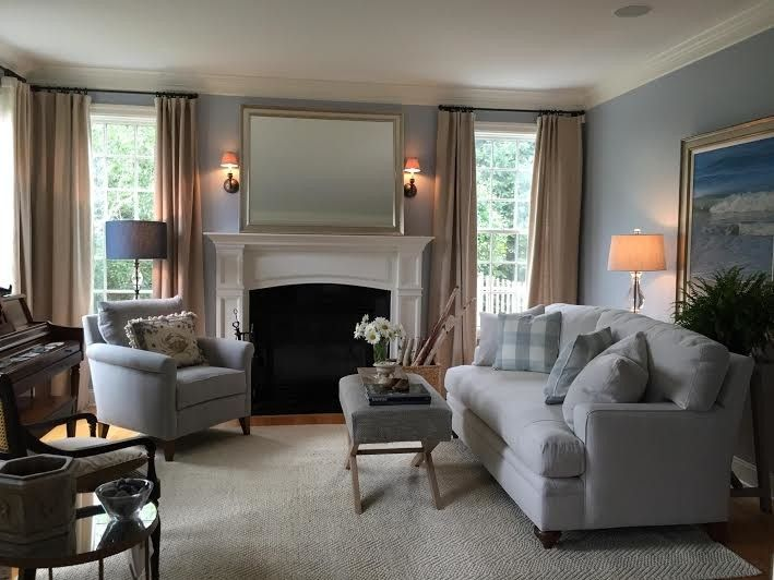 Fireplace Mantel Decorating Ideas for a Transitional Spaces with a Blue Loveseat and Sitting Room by J. Cashier Interiors