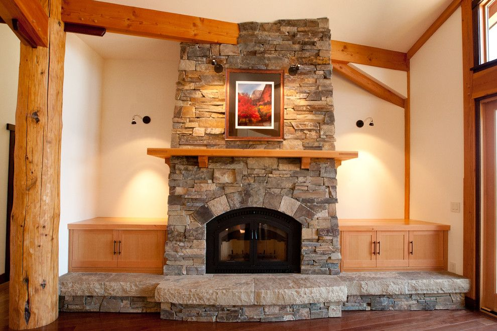 Fireplace Xtrordinair for a Contemporary Living Room with a Timber Mantle and Asian Influenced Timber Frame with Arts and Elements by Ironwood Builders