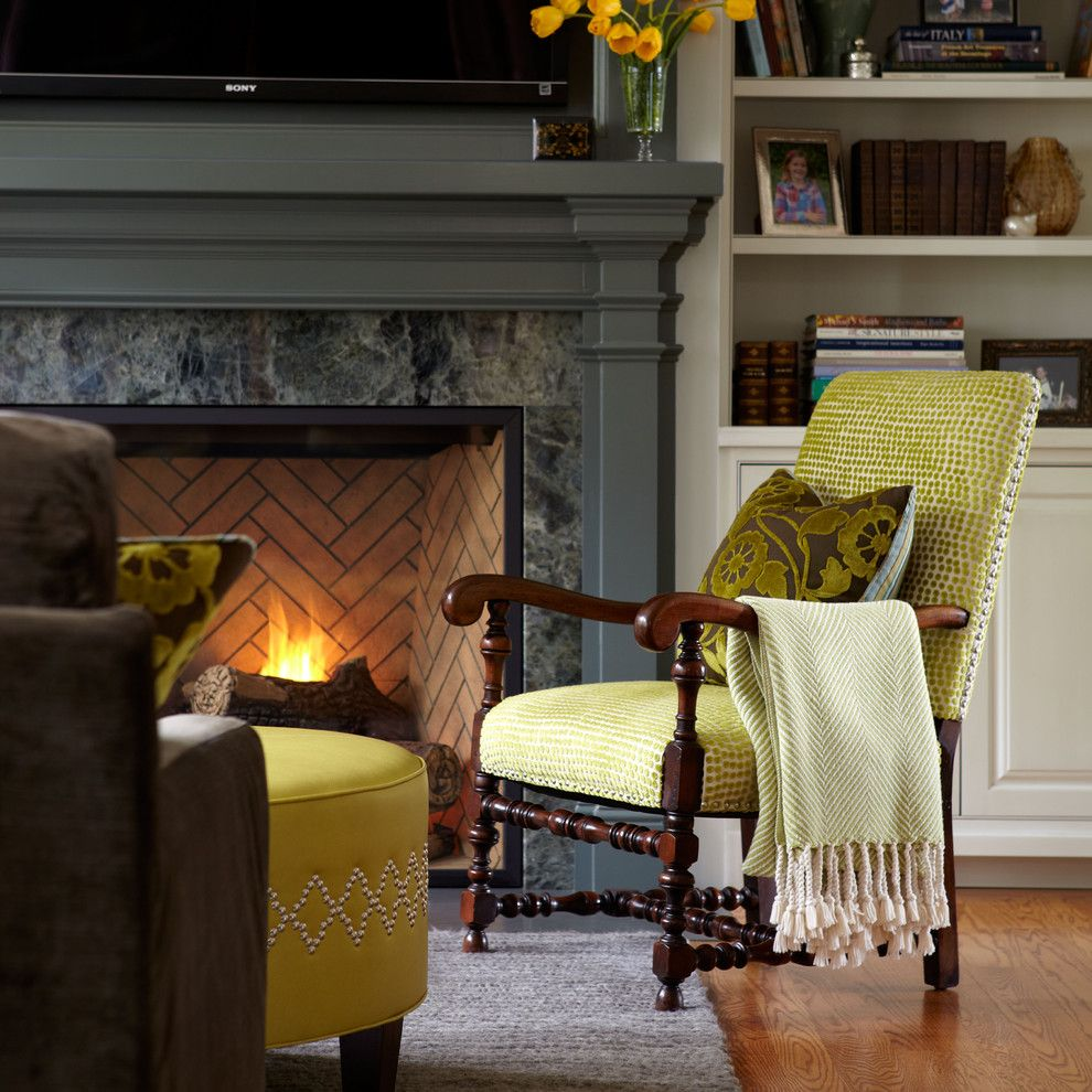 Fireplace Xtrordinair for a Traditional Family Room with a Marin and Marin Home by Carolyn Rebuffel Designs