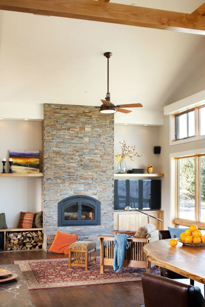 Fireplace Xtrordinair for a Transitional Living Room with a Tv and Meadow House by Lawrence and Gomez Architects