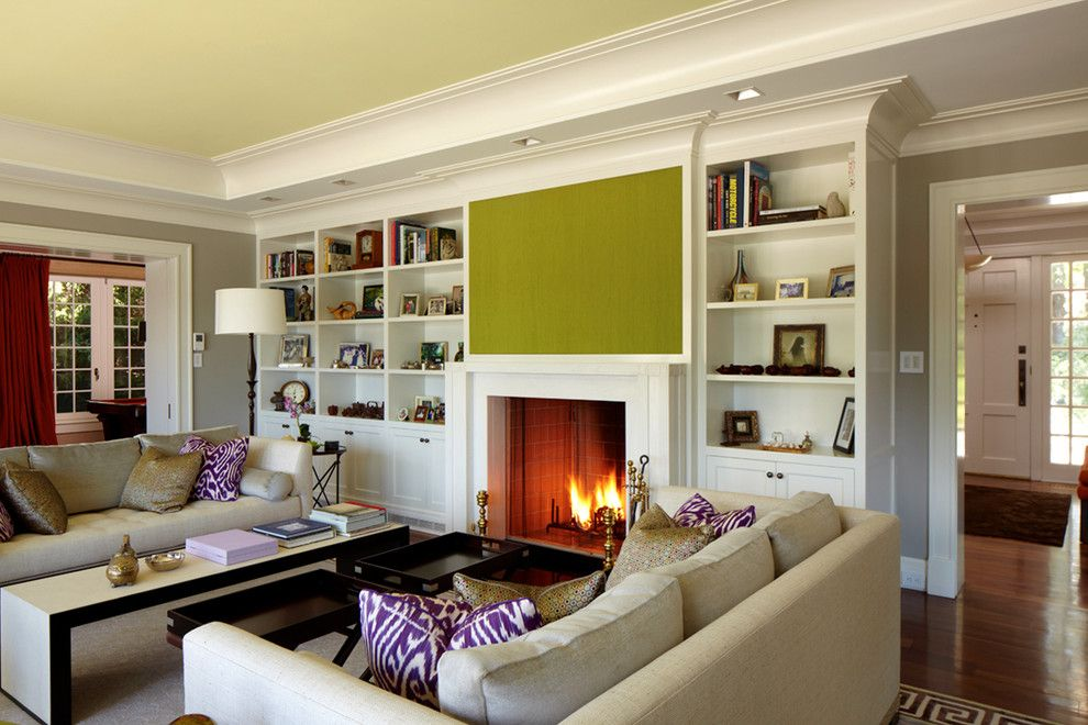 Fireplace Xtrordinair for a Transitional Living Room with a Waterfront and Greenwich Residence by Leap Architecture