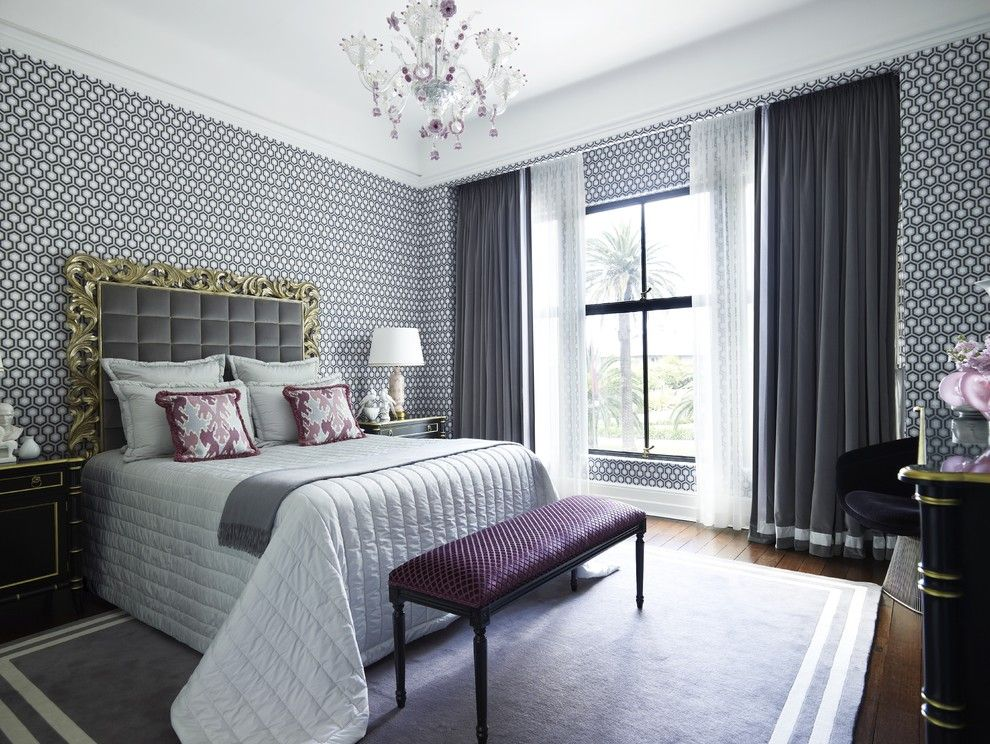 First Apartment Checklist for a Contemporary Bedroom with a Wood Floor and Gray and Purple Bedroom by Greg Natale