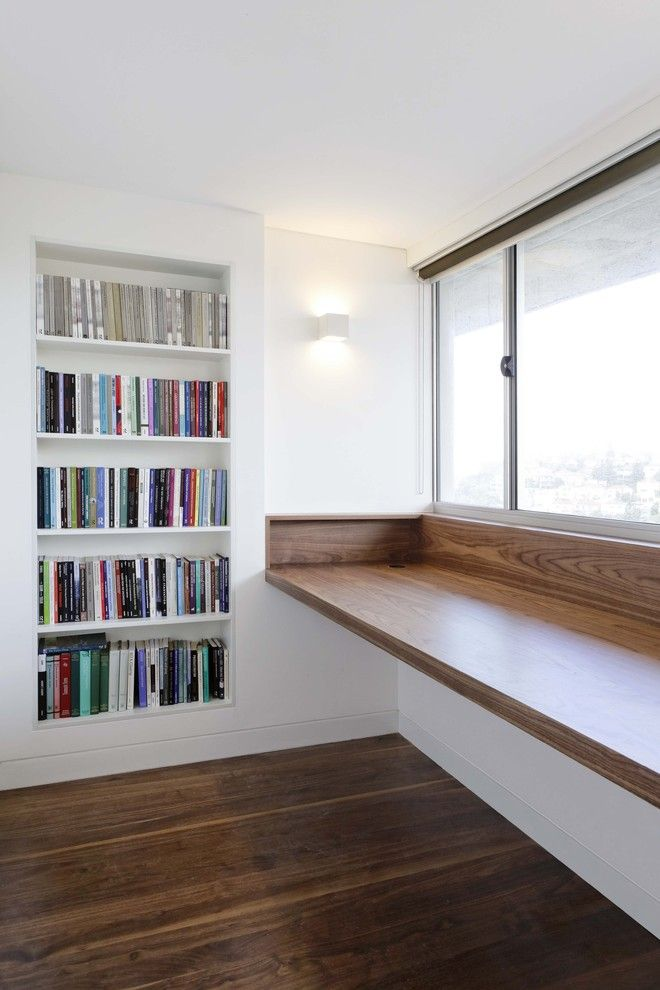 First Apartment Checklist for a Modern Home Office with a Large Windows and Vaucluse Apartment by Rudolfsson Alliker Associates Architects