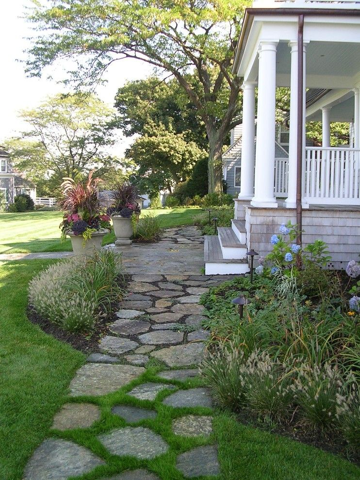 Flagstone Path for a Beach Style Landscape with a Porch and Coastal Knoll   Hingham, Ma by Sean Papich Landscape Architecture
