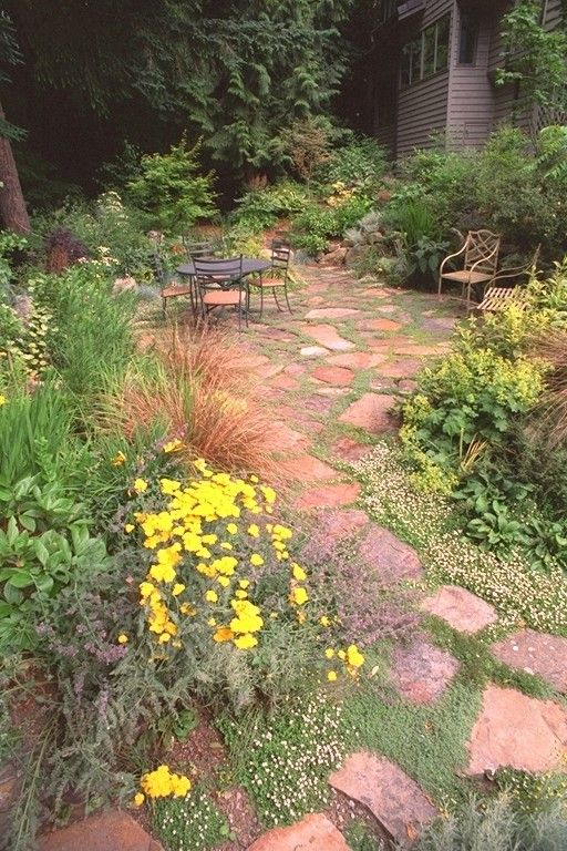 Flagstone Path for a Contemporary Landscape with a Patio and Exteriorscapes by Exteriorscapes Llc