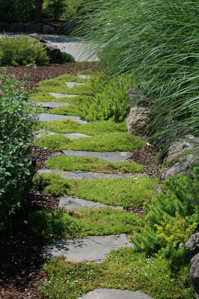Flagstone Path for a Traditional Landscape with a Planter and Mossy Stepping Stone Path by Ami Saunders, Mla