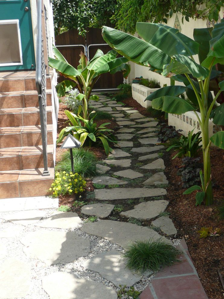 Flagstone Path for a Tropical Landscape with a Outdoor Lighting and Santa Monica by Lost West