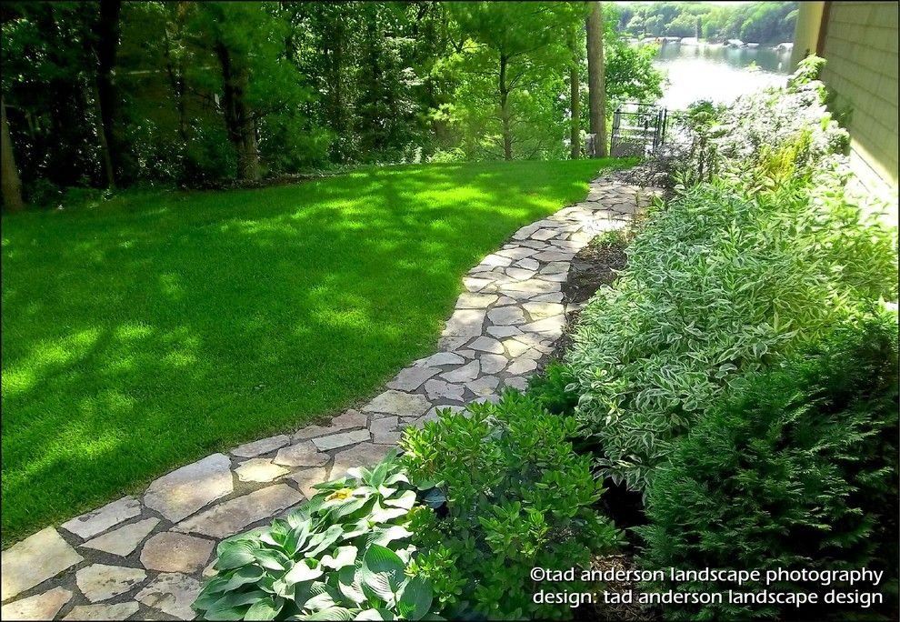 Flagstone Walkway for a Craftsman Landscape with a Camp Style and Lake Minnetonka Landscape for Living   Flagstone Walk.  Minnesota Landscape. by Anderson Design / Erosionz.  Minnesota Landscape.