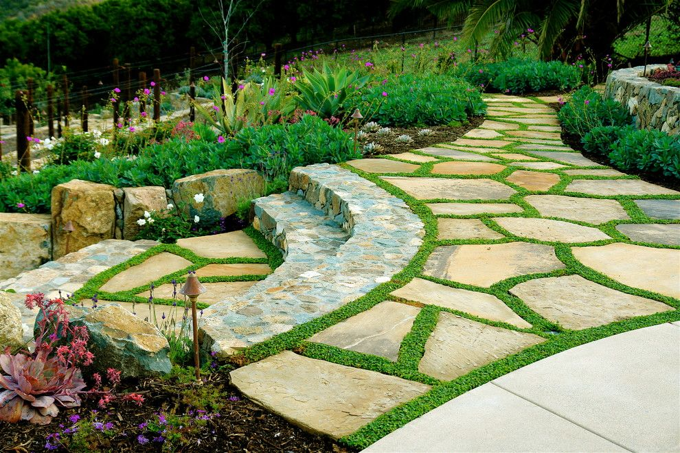 Flagstone Walkway for a Mediterranean Landscape with a Outdoor Lighting and Las Villas by Demaria Landtech, Inc.