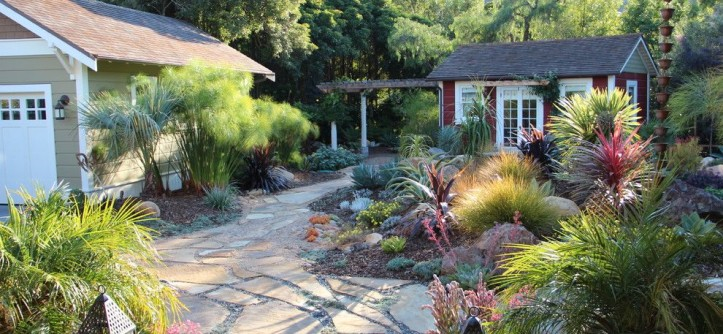 Flagstone Walkway for a Mediterranean Landscape with a Rocks and Mediterranean Garden Feature in San Luis Obispo by Gardens by Gabriel, Inc.