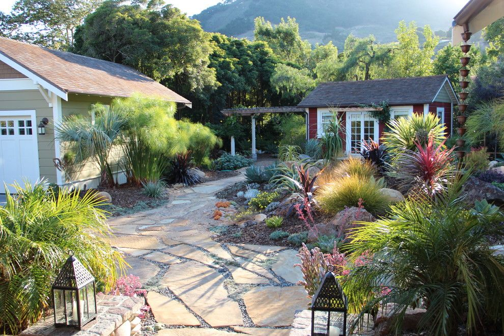 Flagstone Walkway for a Mediterranean Landscape with a Rocks and Mediterranean Garden Feature in San Luis Obispo by Gardens by Gabriel, Inc.