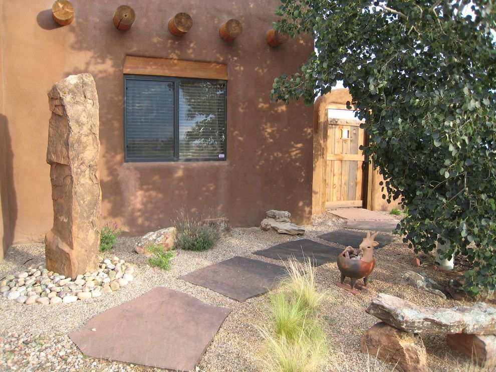 Flagstone Walkway for a Southwestern Landscape with a Stone Stepping Stones and Santa Fe, Nm Residence by Fred Albert Design